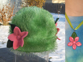 Shaymin Hat + Flower Charm by clearkid