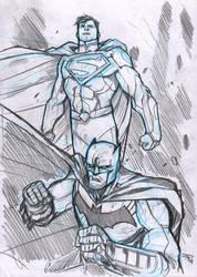 Superman and Batman sketch by DenisM79