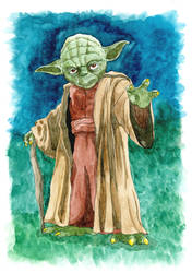 Yoda Watercolor by Marimaru