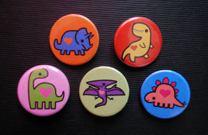 Dino Love Button Set by pookat