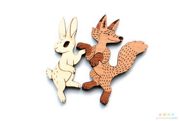 Fox and Hare Pin Set by pookat