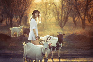 Elena and Goats by RavenaJuly