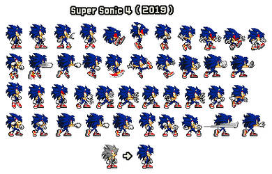 Super Sonic 4 Sprites Revamped by SKCollabs