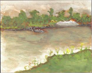 Barge on MIsssouri River by drwhofan