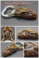 Gold Fire Dragon - bottle opener by SaQe