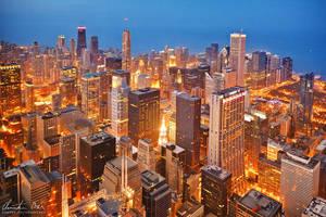 Chicago skyline at night 2 by Nightline
