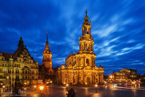 Dresden Hofkirche Cathedral by Nightline