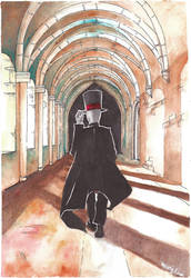 Black Hat in Hallway Watercolor by ZtheSOI
