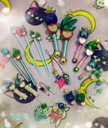 Sailor Uranus and Neptune Transformation Lip Rods by MichiruPLANET