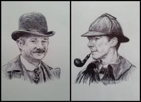 Victorian Holmes and Watson (ballpoint) by Vanimelda4