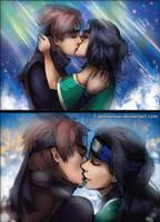 Hitoshi and Saori kiss by AkinaSilver