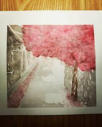 Sakura alleyway - watercolour painting by Crownverry