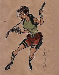 Brown Bag Lara Croft by Hodges-Art