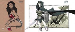 Progress... Wonder Woman 2005 and 2016 by Hodges-Art