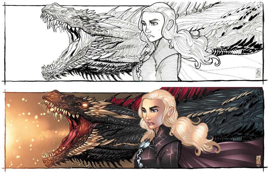 Daenerys and Drogon by Hodges-Art