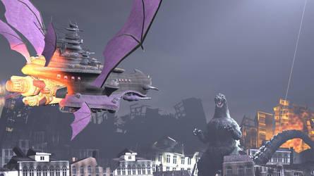 Godzilla vs the Halberd by Hesei-Pikmin