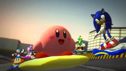 Sonic and Kirby Air Riders by Hesei-Pikmin