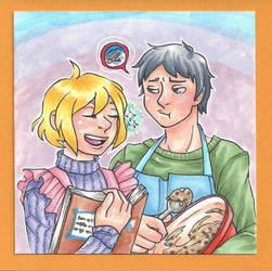 Art Trade - Shidou and Robert by Doodlebotbop