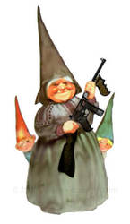grandma gnome and her tommygun by squeet
