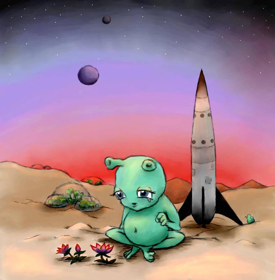 Sad Alien by gusdefrog