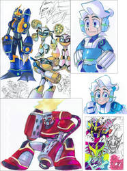 Mega Man Fully Charged colour sketches by Strixic