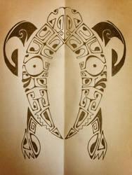 Polynesian Sea Turtle Tattoo by A18cey