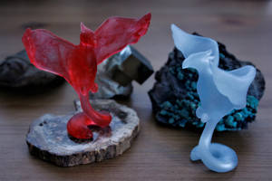 Ascending Fire and Ice Phoenixes by MiniMynagerie