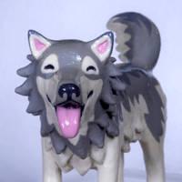 Amadeus (Gray Wolf Figurine) by MiniMynagerie