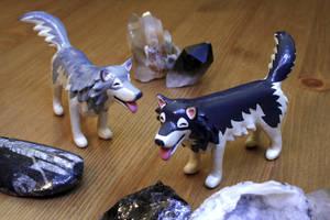 Custom Happy Wolf Figurine with Amadeus by MiniMynagerie