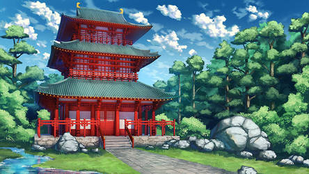 Sakura Shrine Girls - Shrine BG by Badriel