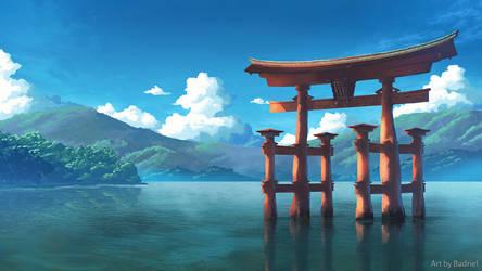 The torii of Itsukushima Shrine by Badriel