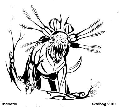 Thanator line art by Skarbog