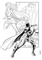 Batgirl + Supergirl by Supajoe