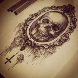 Skull with rosary. by leirivera03