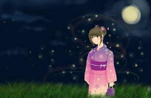 Summer night and fireflys by Azumina