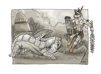Fighting the River God by GenevieveMeuniere