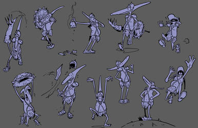 Pterodactyl Dungeoneer - Action Poses by SquidMantis