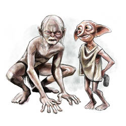 Gollum and Dobby by RamonaForever