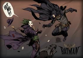 Old West Batman VS Joker by Blackmoonrose13