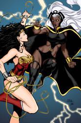 Storm VS Wonder Woman by Blackmoonrose13