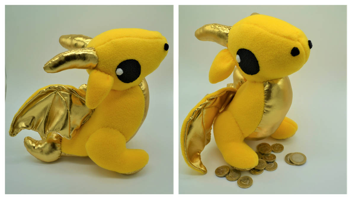 Gold and Yellow Wyvern Plush Dragon by Gemlettuce