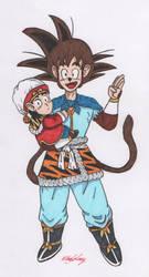 Monkey King Goku with Gohan (No Background) by KingGlory