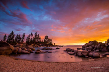 Sunset at Sand Harbor beach Lake Tahoe by sergey1984