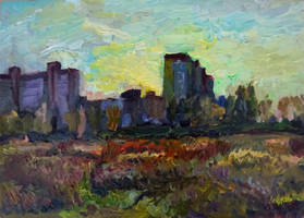 Noon autumn landscape with buildings by sergey-ptica