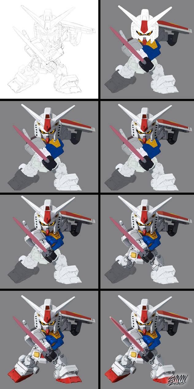 Gundam Chibi_Digital Painting by 3demman