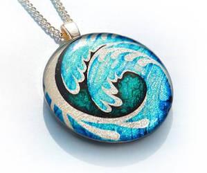 Ocean Waves Pendant by luminarydreams
