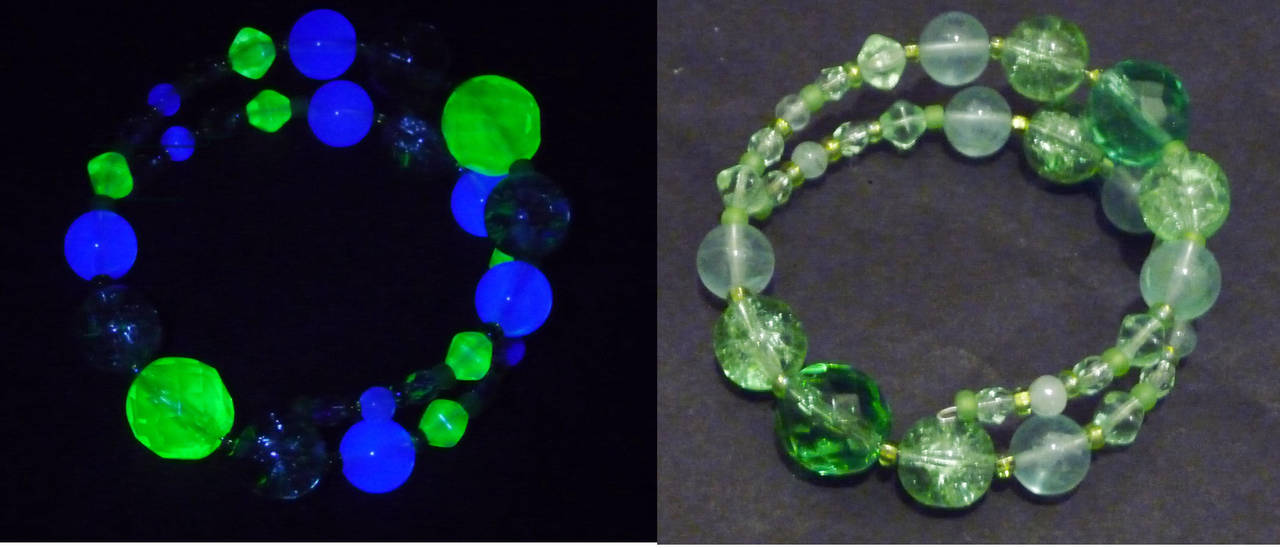 Uranium + fluorite bracelet by wombat1138