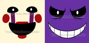 Puppet and Purple Guy faces by VickyViolet