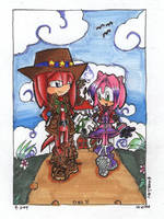 Knuckles and Amy Walks by Knux-AmyLoversclub
