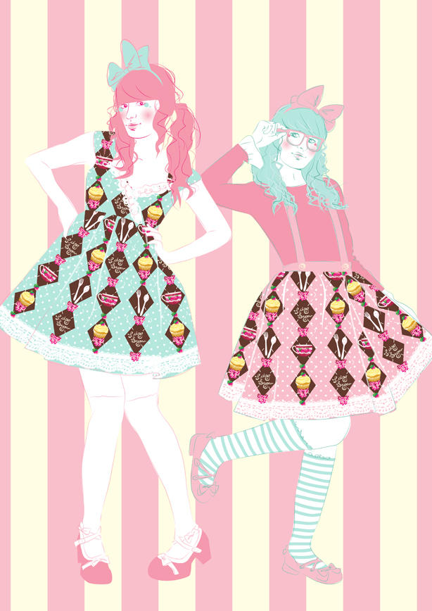 Tea Party Argyle Illustration by decora-rockstar